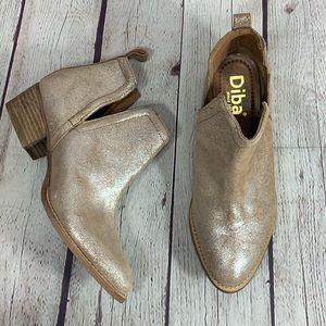NEW Diba Gold Metallic Skyler Leather Suede Bootie